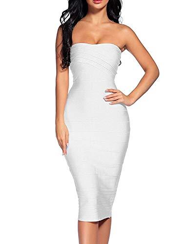 Women's Strapless Bandage Dress Celebrity Midi Evening Party Bodycon Dresses (White, XL)