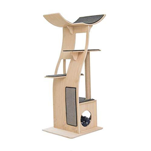 FTFDTMY Massivholz-Katzenklettergerüst, große mehrschichtige Villa Einteiliges Katzenkratzbrett Kratzbaum-Katzensprungplattform (Größe: 58 * 61 * 160 cm)