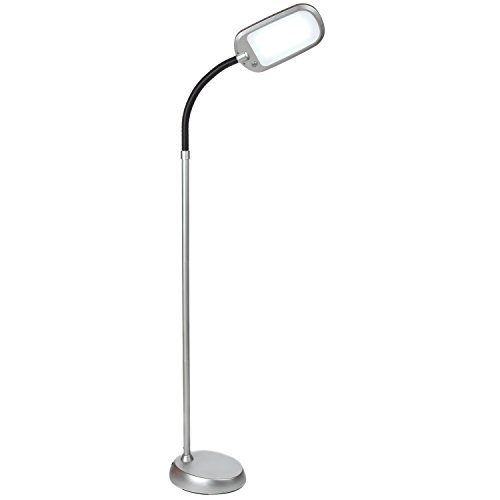 Brightech Litespan LED 2nd Edition Reading & Craft Floor Lamp- Dimmable Light & Adjustable Color Temperature Switch- Standing Pole Light with Gooseneck for Living Room Dorm Bedroom Office Task- Silver (Floor Standing Lamp)