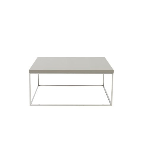 Euro Style Teresa Square Lacquer Top Coffee Table, Taupe with Polished Stainless Steel - Euro Style Furniture Square Table