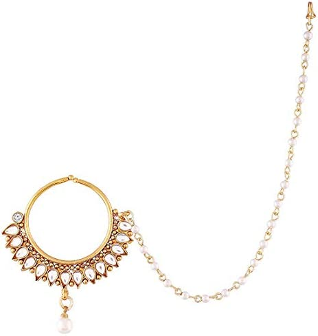 Aheli Classy Wedding Party Wear Nose Ring Nath with Pearl Chain Traditional Saree Jewelry for Indian Women