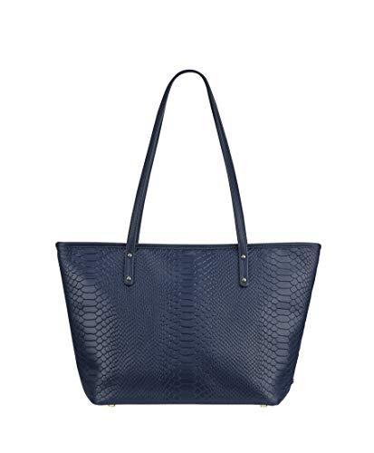 Gigi Handbag Designer - GiGi New York Women's Zip Taylor Embossed Python Tote Navy