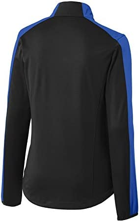 Rescuetees Ladies Embroidered Thin Blue Line USA Flag Active Color Block Soft Shell Jacket