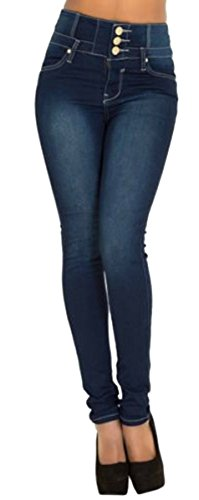 GALMINT Women's Juniors High Rise Irresistible Jegging Pull-On Stretch Skinny Jeans Blue,Blue,US 14-16