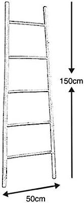 Echelle porte-serviettes en bambou patin/é blanc 150cm