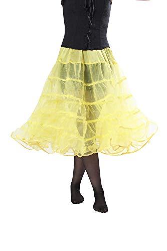 - Melonie Tea Length Net Crinoline - for Stiff Structured Support Under Vintage Clothing Rockabilly or Wedding/Formal Dress Yellow