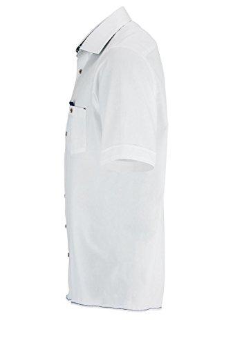 CASAMODA Casual Fit Hemd Halbarm mit Besatz weiß
