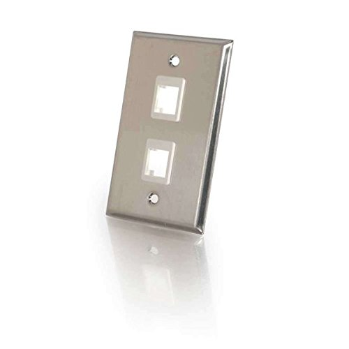 C2G 37094 Two Port Keystone Single Gang Wall Plate, TAA Compliant, Stainless Steel