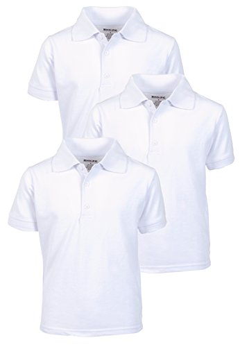 Beverly Hills Polo Club 3 Pack of Boys' Short Sleeve Pique Uniform Polo Shirts, Size 16, White (Best Sewing Classes Nyc)
