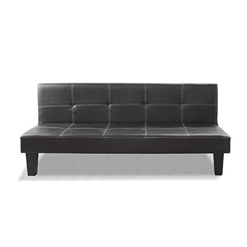 Design-Schwarz-bequemes-Schlafsofa-Sofabett-Sofa-Couch-aus-Kunstleder-fr-3-Sitzer