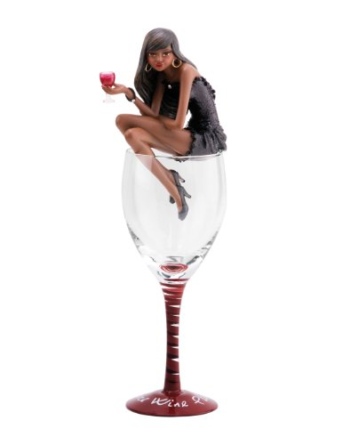 (Pavilion Gift Company Hiccup by H2Z 73670 More Wine Please Ebony Girl Figurine in Wine Glass, 11-1/2-Inch)