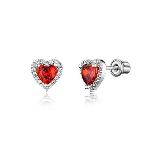 925 Sterling Silver Rhodium Plated Dark Red Heart Cubic Zirconia Screwback Baby Girls - Plated Silver Dark