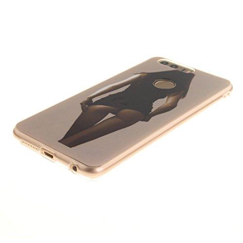 Cas Téléphone Fit Scratch En Antichoc De Résistant Cas beauty Hozor Motif Peint De Bord Souple Slim 8 Protection Silicone Arrière TPU Huawei Transparent Honor Couverture AqHOfT