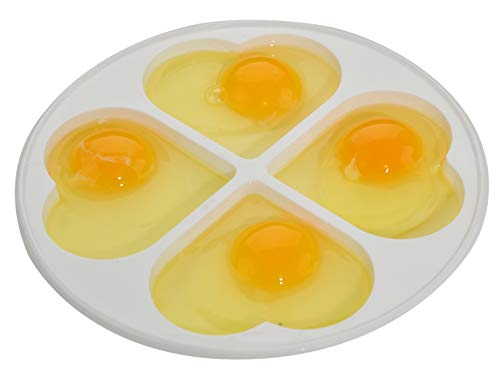 HOME-X Heart-Shaped Microwave Egg Poacher, Holds 4, BPA Free, Dishwasher Safe