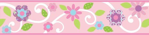 Pink Flowers Floral Scroll Set of 4 Self-Stick Wall (Pink Self Stick Wall Border)