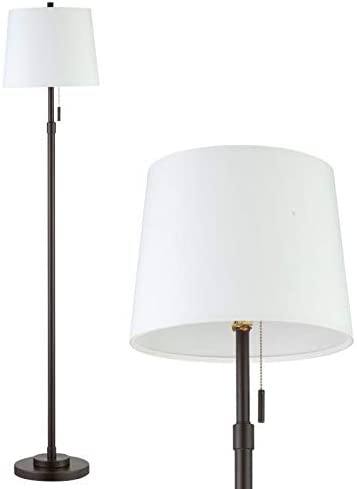 Farmhouse Floor Lamp White Floor Lamp With Shade Mid Century Black Floor Lamps For Living Room Modern Metal Pole Tall Standing Lamp For Office Bedroom By Roriano Amazon Com
