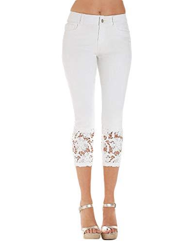 Crayon Pantalons Cropped Femmes Dentelle Denim Slim Skinny Fit Capri Blanc Pantalon Jeans 44Tvqwz