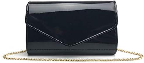 Ladies Two Tone Patent Clutch Bag Glossy Envelope Evening Bag Handbag