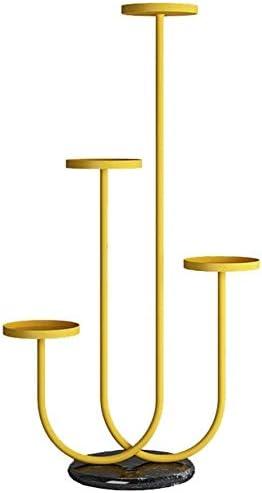フラワースタンド 多肉植物の表示ラックメタルプラントガーデンバルコニーの装飾床のための花の棚4階層フラワーポットホルダースタンド - マーブルベースを立ち 植物の棚フラワースタンド1120 (Color : Yellow)