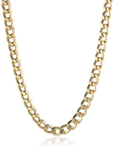 14K Solid Gold 3.8mm Cuban Curb Link Chain Necklace - Lobster Claw Clasp - Multiple Lengths And Colors Available (Yellow, 18)