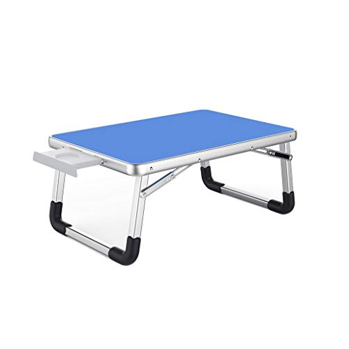 Wenhui Extra Large Folding Desk Tray - Featuring Locking Foldable Leg Design and Carry Handle - for Use in Bed, Computer, Picnic, Or Kids Playtime (Color : Blue)