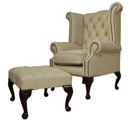 offer ivory cream queen anne high back wing chair with footstool