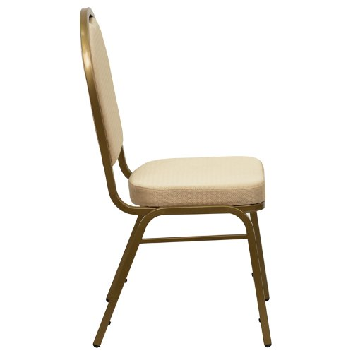 Flash Furniture HERCULES Series Dome Back Stacking Banquet Chair in Beige Patterned Fabric - Gold Frame