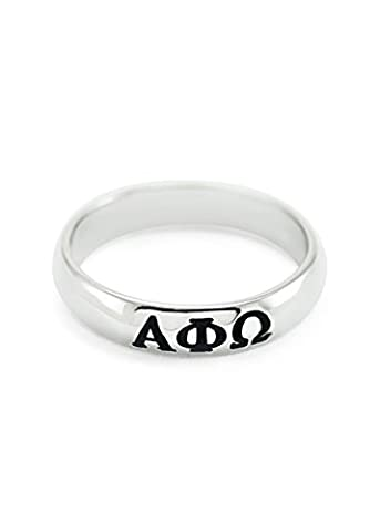Alpha Phi Omega Sterling Silver Wide-Band Ring (7.0)