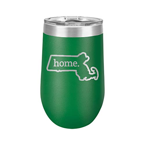 Massachusetts Home Outline US State United States - Polar Camel 16 oz. Vacuum Insulated Stemless Tumbler w/Lid (Green)