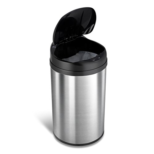 Ninestars DZT-40-8 Automatic Touchless Motion Sensor Round Trash Can, 10.6 Gal. 40 L, Stainless Steel
