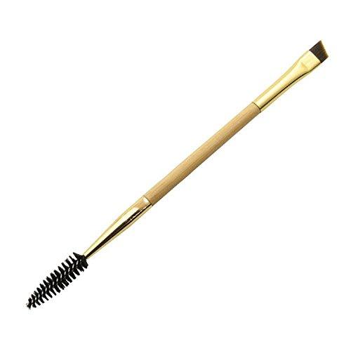 NALATI 1PC Make-up Doppelaugenbraue Pinsels - Augenbraue Kamm und Augen Kosmetik Pinsel Werkzeug mit Bambusgriff - 2-in-1 Brauenpinsel-Duo für Ihre Augenbrauen und Wimpern