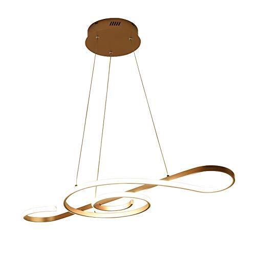 Moderno LED Colgante de luz 30W 2100 lumen Regulable con control remoto Oro Nota musical Diseno Lampara colgante para Bar Cafe Isla de cocina Mesa de comedor Ninos Dormitorio Candelabro Arana