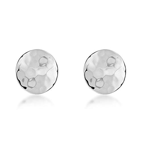 Sterling Silver Hammered Disc Stud Earrings - 10mm