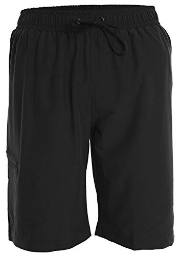 Men's Boardshorts - XXL - Black - Perfect Swimsuit, Swim Trunks, Board Shorts, Workout or Athletic Shorts for The Beach, Lifting, Running, Surfing, Pool, Gym. for Adults, Men's Boys (Swim Board Short Men)