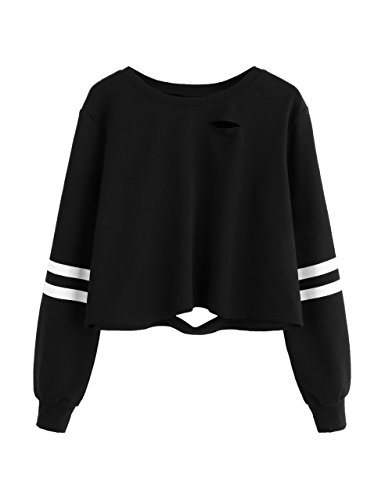 SweatyRocks Women's Tshirt Long Sleeve Distressed Crop T-Shirt Top (Small, Black #1)
