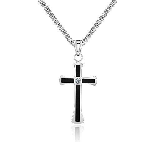 Godcow Philippians 4:13 Mens Stainless Steel Black Enamel Diamond Cross Pendant Necklace, Chain 22