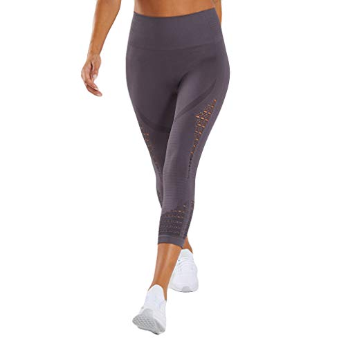 iHPH7 Yoga Pants Hollow-Out High-Waist Hip-up Yoga Pants Leisure Running Seven-minut Pants S Gray]()