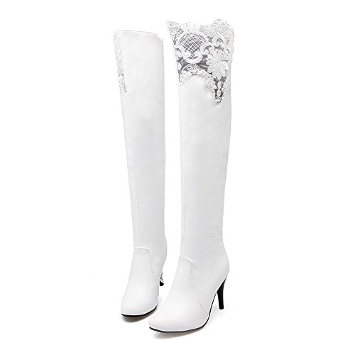 A&N Womens Lace Stiletto Round Toe Imitated Leather Boots White kfO4kl6zh