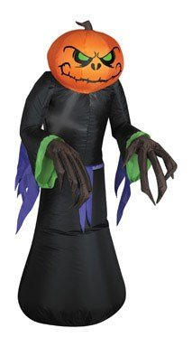 Airblown Inflatable Gemmy Lights Pumpkin Reaper 3.5' - Halloween Inflatables