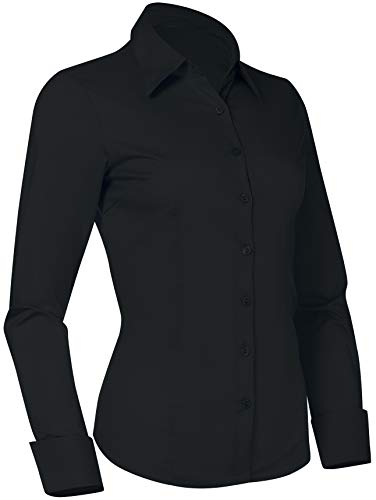 (Pier 17 Button Down Shirts for Women, Fitted Long Sleeve Tailored Work Office Blouse (Large, Black))