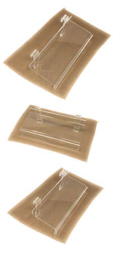 Clear Acrylic Gridwall Shelves with Sign Holder 4 Inch x 10 Inch Set of 3 Retail Display ()