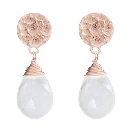 Azuni London Kate Drop Earrings in Moonstone and Rose Gold