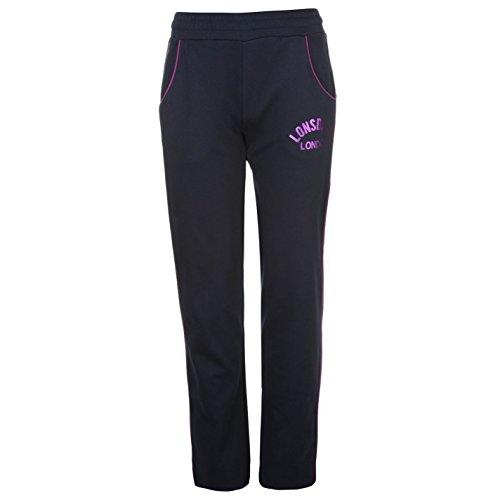 Lonsdale Mujer Logo Jersey Pantalones Señoras Ropa De Abajo Vestir Casual Azul Marino/Violeta