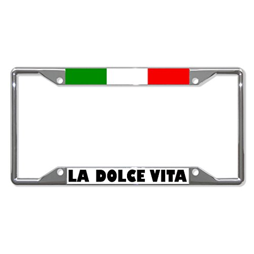 LA Dolce VITA Italian Flag Metal License Plate Frame Tag Holder Four Holes Perfect for Men Women Car garadge Decor