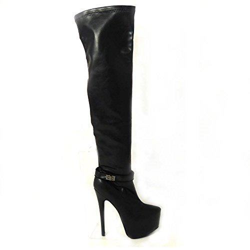 8 Sexy Varios 3 6 mate muslo mujer Damas sobre estiramiento rodilla estilete de la negro diseños SKO'S 4 talla 0324 5 para 7 botas TYCw4wq