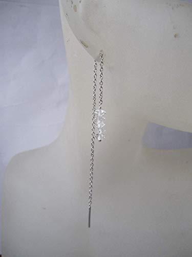 Herkimer Diamond 925 Sterling Silver Threader Earrings,Total Length 11.5 - Ring Threader Silver Sterling