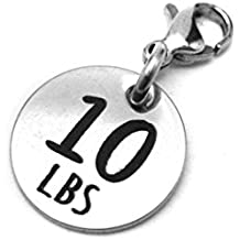 10 lbs Weight Loss Jewelry Charm - Motivational and Inspirational Jewelry for Fitness and Workout Motivation for Pounds Lost - Stainless Steel Engraved Charm and Clasp - Tarnish Free Charms