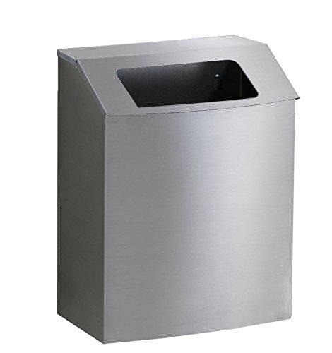 Hinged Top Trash Receptacle - healthFIRST Steel Trash Receptacle with Hinged Open Top, for public and exam spaces