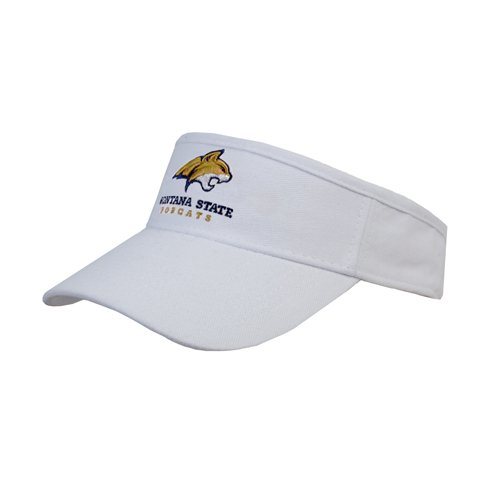 Montana State White Brushed Bull Denim Visor 'Official Logo - Bobcat Head'