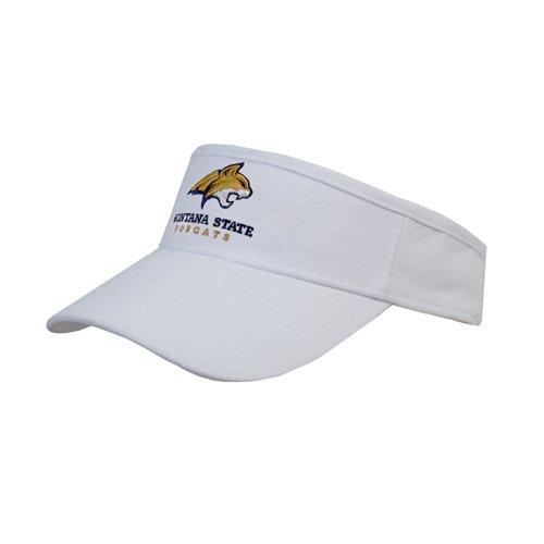 Montana State White Brushed Bull Denim Visor 'Official Logo - Bobcat Head' by CollegeFanGear